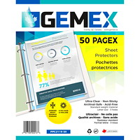 Pochettes protectrices en polypropylène à insertion par le haut Gemex, épaisseur standard, transparent, format lettre, emb. de 50