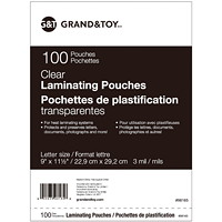 Grand & Toy Thermal Laminating Pouches, Clear, 3 mil, Letter Size, 100/PK
