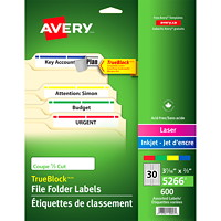 Avery 5266 Filing Labels With TrueBlock Technology, White with Assorted Coloured Top Bar, 3 7/16