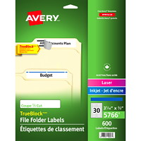 Avery 5766 Filing Labels With TrueBlock Technology, White with Blue Top Bar, 3 7/16