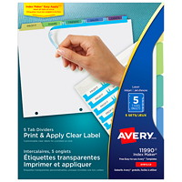 Avery 11990 Print & Apply Label Dividers with Easy Apply Labels, Clear/White/Pastel, 8 1/2