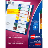 Avery 11172 Ready Index Easy Edit Table of Contents Dividers, Multi-Coloured Tabs, Numbered (1-8), Letter-Size, 8-Tabs/ST, 1-Set/PK