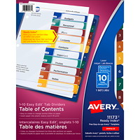Avery 11173 Ready Index Easy Edit Table of Contents Dividers, Multi-Coloured Tabs, Numbered (1-10), Letter-Size, 10-Tabs/ST, 1-Set/PK
