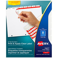 Avery 11417 Print & Apply Label Dividers with Easy Apply Labels, Clear, 8 1/2