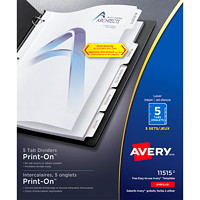 Avery 11515 Print-On Dividers, White, Letter-Size, 5-Tabs/ST, 5-Sets/PK
