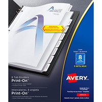 Avery 11552 Print-On Dividers, White, Letter-Size, 8-Tabs/ST, 5-Sets/PK