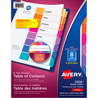 Avery 11519 Ready Index Durable Table of Contents Dividers with Plain Tabs, White with Multi-Coloured Tabs, Letter-Size, 8-Tabs/ST, 6-Sets/PK