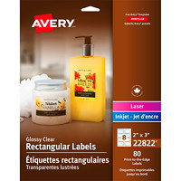 Avery 22822 Print-to-the-Edge Permanent Rectangular Labels, Clear, 2