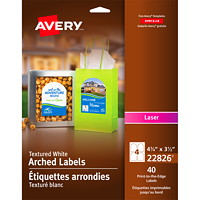Avery 22826 Print-to-the-Edge Permanent Arched Labels, White, 4 3/4