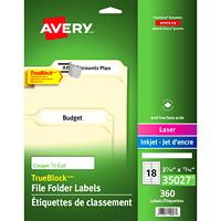 Avery TrueBlock Extra Large Laser/Inkjet File Folder Labels, White,  3 7/16