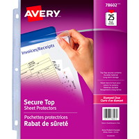 Avery Secure Top Insert Sheet Protectors, Diamond Clear, Letter-Size, 25/PK