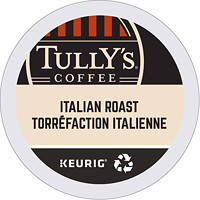 Tully's Coffee Single-Serve K-Cup Pods, Italian Roast, 24/BX