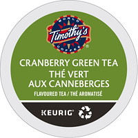 Timothy's Cranberry Green Tea K-Cup Pods, Single-Serve, Box of 24