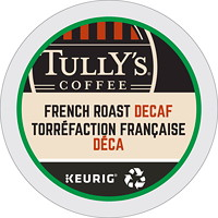 Tully's Coffee Single-Serve K-Cup Pods, French Roast Decaf, 24/BX
