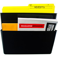 Storex Snap and Stack Wall File Pockets, Black, Letter-Size, 2/PK