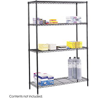 Safco Commercial Wire Shelving, Black, 48