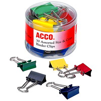 Acco Binder Clips, Assorted Colours, 30/PK
