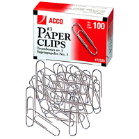 Acco Paper Clips, #3, Smooth Finish, Silver, 100/PK