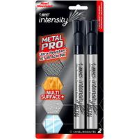 Bic Intensity Metal PRO Permanent Markers, Black, Chisel, 2/PK