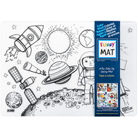 Funny Mat Reusable Table Top Colouring Mat, Space Theme, 18 9/10