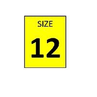 SIZE 12 YELLOW STICKER - ROLL, 250 stickers per roll