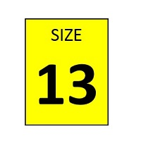 SIZE 13 YELLOW STICKER - ROLL,  250 stickers per roll
