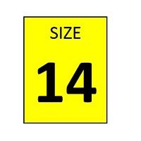 SIZE 14 YELLOW STICKER - ROLL,  250 stickers per roll