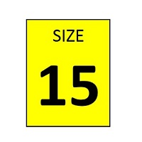SIZE 15 YELLOW STICKER - ROLL,  250 stickers per roll