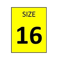 SIZE 16 YELLOW STICKER - ROLL,  250 stickers per roll - FR