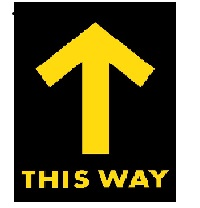 DSW -This Way Arrow Floor Decal rectangle 1'x1.5', Black and Yellow