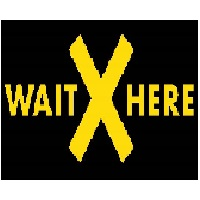 DSW - Wait Here  Cash Area Floor Decal rectangle 1'x1.5', Black and Yellow