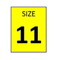 SIZE 11 YELLOW STICKER - ROLL,  250 stickers per roll - FR