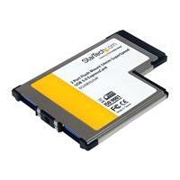 StarTech.com 2 Port Flush Mount ExpressCard 54mm SuperSpeed USB 3.0 Card Adapter with UASP - Dual Port Laptop ExpressCard USB 3 Controller (ECUSB3S254F) - USB adapter