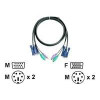 ATEN Micro-Lite 2L-5003P - keyboard / video / mouse (KVM) cable - 3 m  cable - 6 pin PS/2(M)  HD-15 (F) - 6 pin PS/2(M)