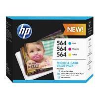 HP 564 Photo and Card Value Pack - pack de 3 - jaune, cyan, magenta - original - cartouche imprimante/kit papier