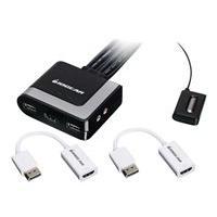 IOGEAR 2-Port HDMI and DisplayPort KVM Kit - Cables Included - KVM / audio / USB switch - 2 ports