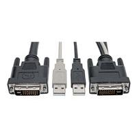 Tripp Lite DVI to USB-A Dual KVM Cable Kit - (2x Male/2x Male), 1920 x 1200 (1080p) @ 60 Hz, 10 ft. - keyboard / video / mouse (KVM) cable - 3.05 m