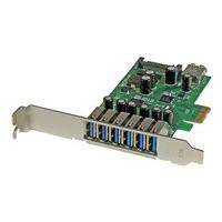 StarTech.com 7 Port PCI Express USB 3.0 Card - Standard & Low-Profile - SATA Power - UASP Support - 1 Internal & 6 External USB 3.0 Ports (PEXUSB3S7) - USB adapter