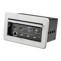 StarTech.com Conference Table Connectivity Pop up Box with AV and Data Ports - HDMI, VGA, DisplayPort to 4K HDMI Output (BOX4HDECP2) - mounting plate (Australia, Japan, New Zealand, North America, United Kingdom, Europe)