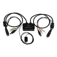 StarTech.com 2 Port USB HDMI Cable KVM Switch with Audio and Remote Switch - USB Powered KVM with HDMI - Dual Port HDMI KVM Switch (SV211HDUA) - KVM / audio switch - 2 ports