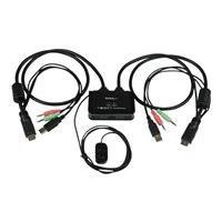 StarTech.com Switch KVM USB HDMI à 2 ports - Commutateur écran clavier souris alimenté par USB avec câbles KVM et commutateur à distance - commutateur écran-clavier-souris/audio - 2 ports