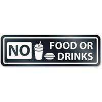 HeadLine No Food Or Drinks Window Sign