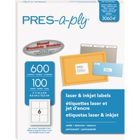 PRES-a-ply White Labels, 3-1/3